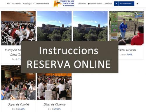 INSTRUCCIONS DE RESERVA AL CERTAMEN NACIONAL 2018